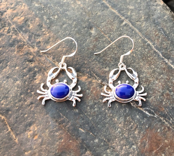 Black Onyx/Blue Lapis and Sterling Silver Crab Earrings