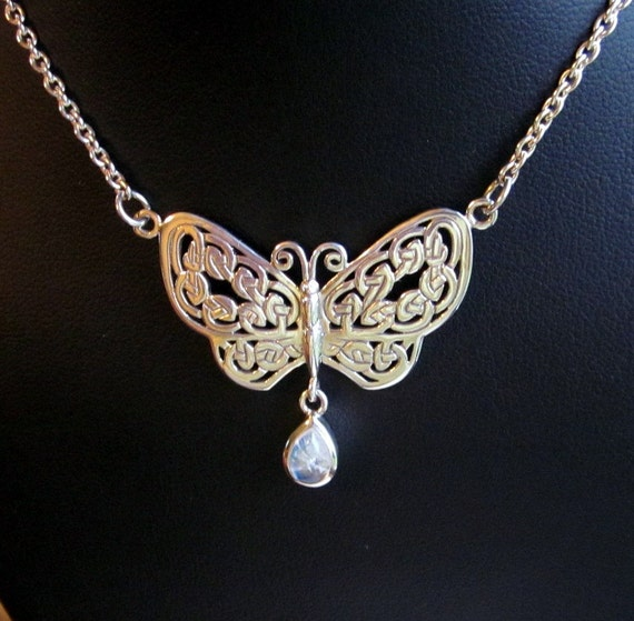 Moonstone & Sterling Silver Celtic Knots Butterfly Necklace - #295