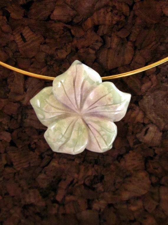 """Jadeite """"Peace Jade"""" Carved Flower Pendant - #417"""