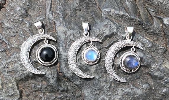 Moonstone, Labradorite or Black Onyx & Sterling Silver Crescent Moon Pendant