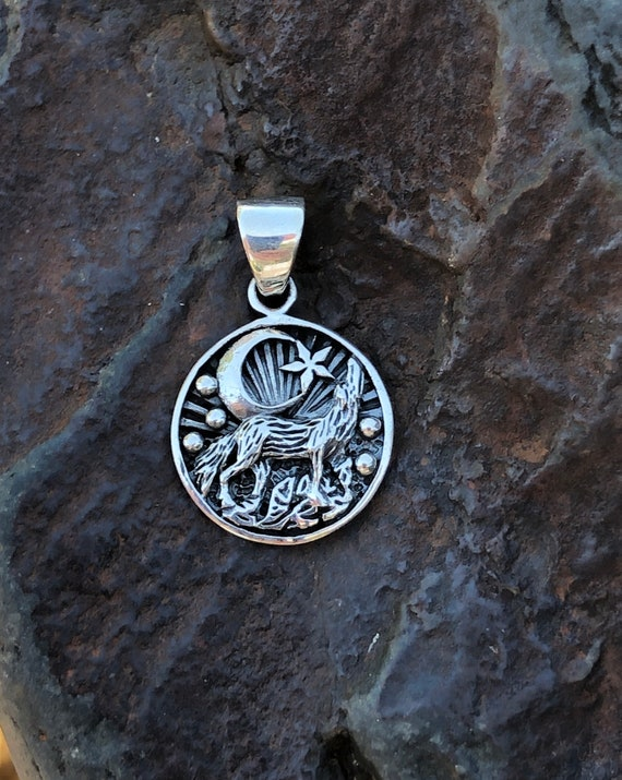 Sterling Silver Wolf, Moon and Star Pendant