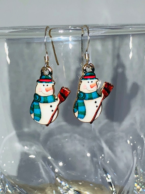 Enamel Snowman Earrings