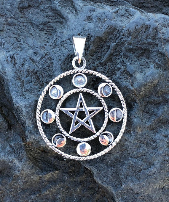 Sterling Silver Moon Phase Pentagram Pendant