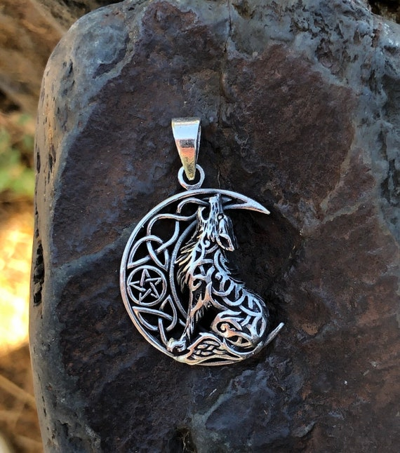 Sterling Silver Celtic Crescent Moon and Wolf Pendant