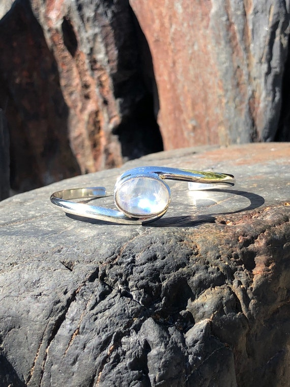 Moonstone and Sterling Silver Cuff Bracelet.