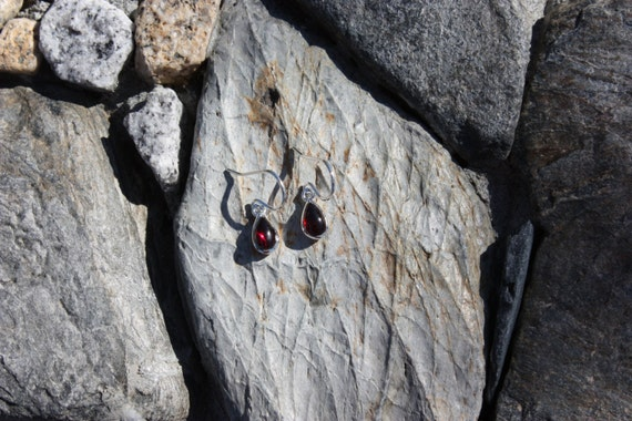 Garnet & Sterling Silver Teardrop Earrings - #86 January Birthstone