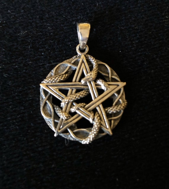 Sterling Silver Pentagram with Snake Pendant - #460