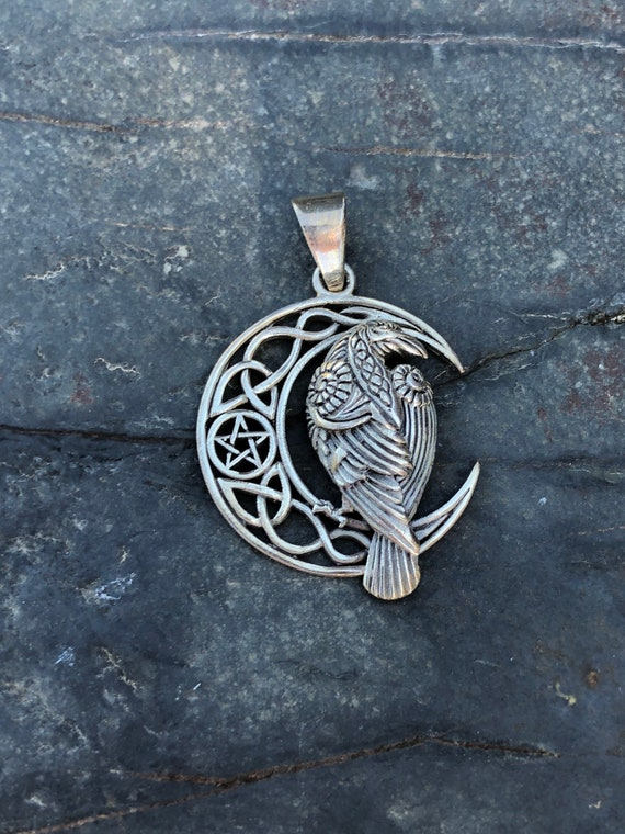 Sterling Silver Raven, Moon and Pentagram Pendant
