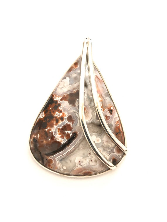 Crazy Lace Agate & Sterling Silver Pendant