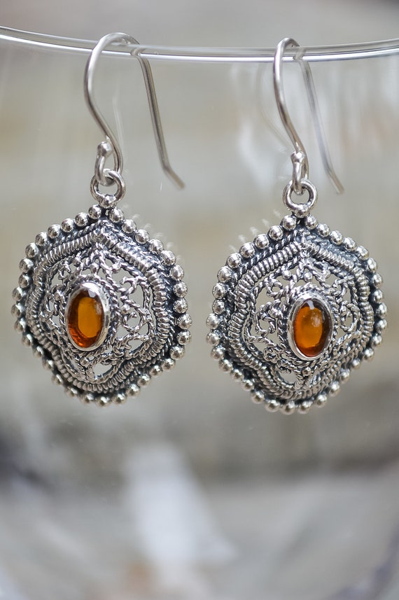 Amber & Antiqued Sterling Silver Bezel Set Earring - #6