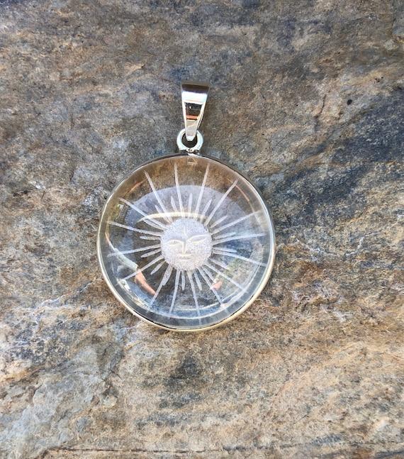 Quartz Crystal & Sterling Silver Etched Sun Face Pendant