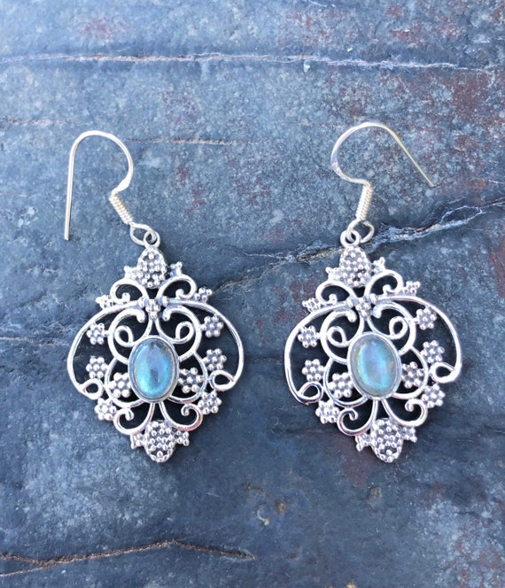 Assorted Stone & Sterling Silver Bali Style Earrings