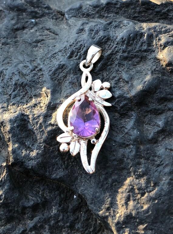Amethyst & Sterling Silver Flower Pendant