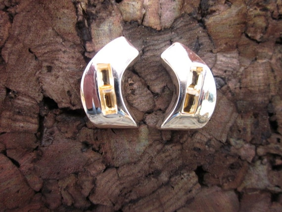 Citrine & Sterling Silver  Bezel Set Crescent Shaped Post Earrings - #40