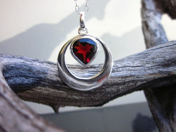 Garnet & Sterling Silver Necklace Faceted Heart - #84 January Birthstone
