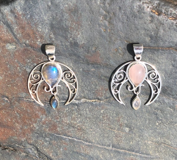 Rose Quartz or Labradorite Crescent Moon Pendant