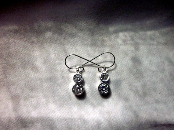 Cubic Zirconia & Sterling Silver Earrings - #176