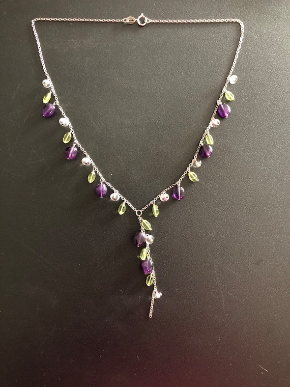 Amethyst, Peridot, Swarovski Crystals on a Sterling Silver Chain #10