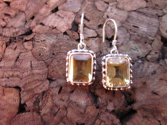 Citrine & Sterling Silver Rectangle Antiqued Earring - #41