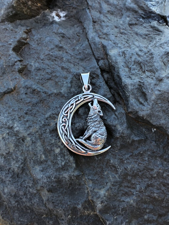 Sterling Silver Celtic Wolf and Moon Pendant