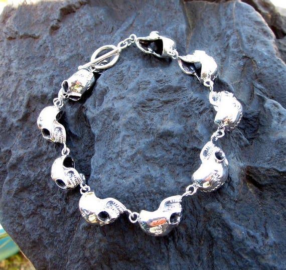 Sterling Silver Alien Skull Bracelet - #577