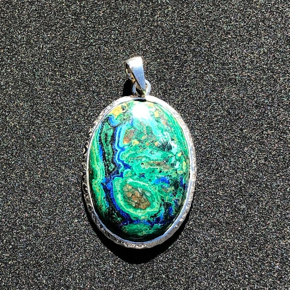 Azurite & Sterling Silver Oval Pendant