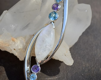 Moonstone, Amethyst, Blue Topaz and Sterling Silver Signature Pendant - #153