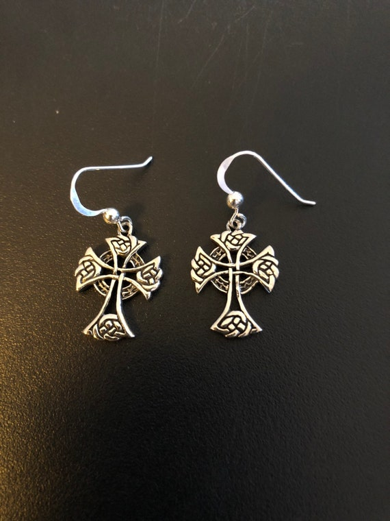 Sterling Silver Celtic Cross Earrings -#44