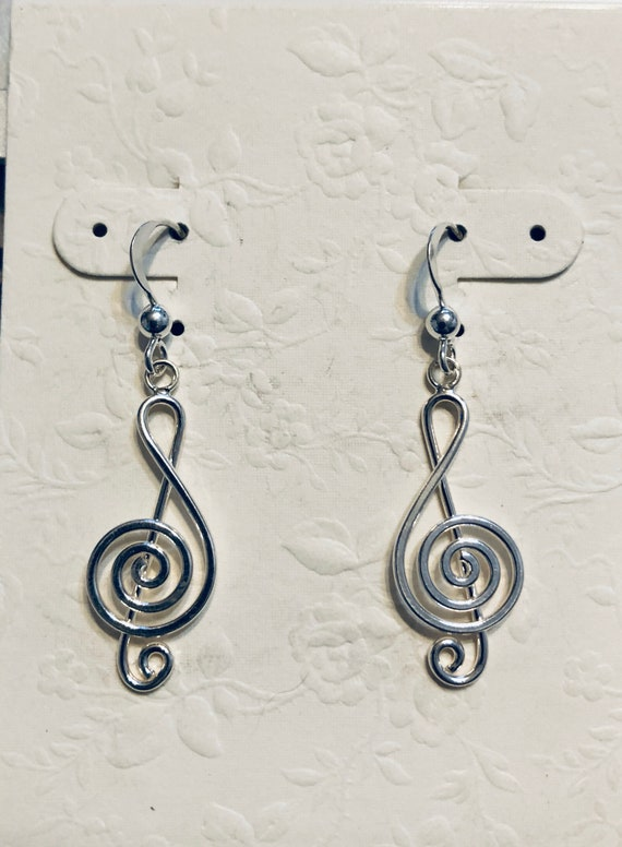 Sterling Silver G Clef Earrings