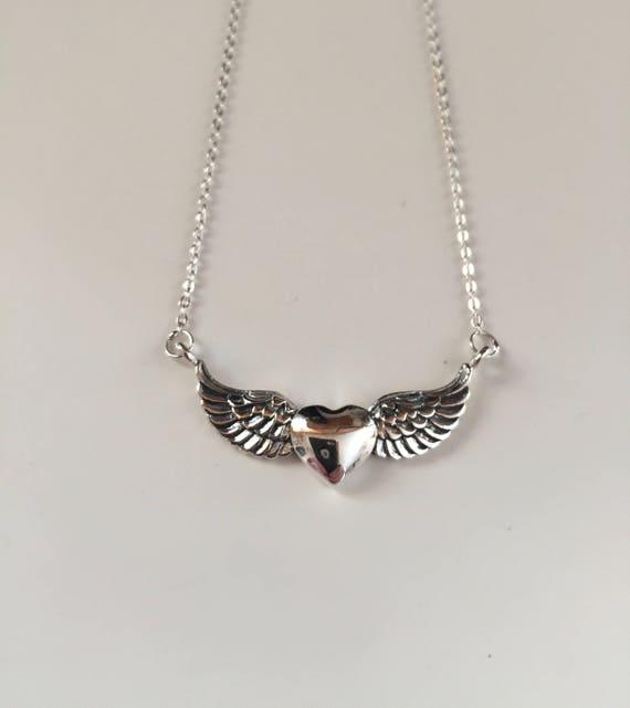 Sterling Silver Winged Heart Choker - #70