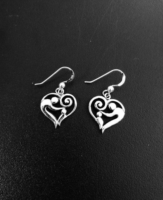 Sterling Silver Mother and Child Heart Earrings -#33