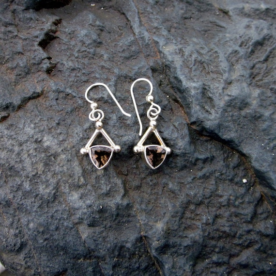 Smoky Quartz & Sterling Silver Earrings - #173