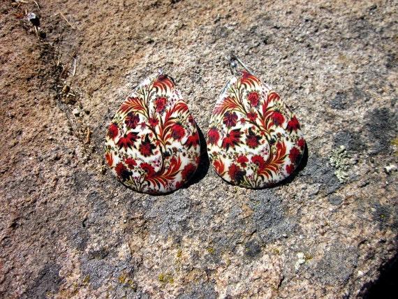 Enamel Flower Teardrop Earrings - #48
