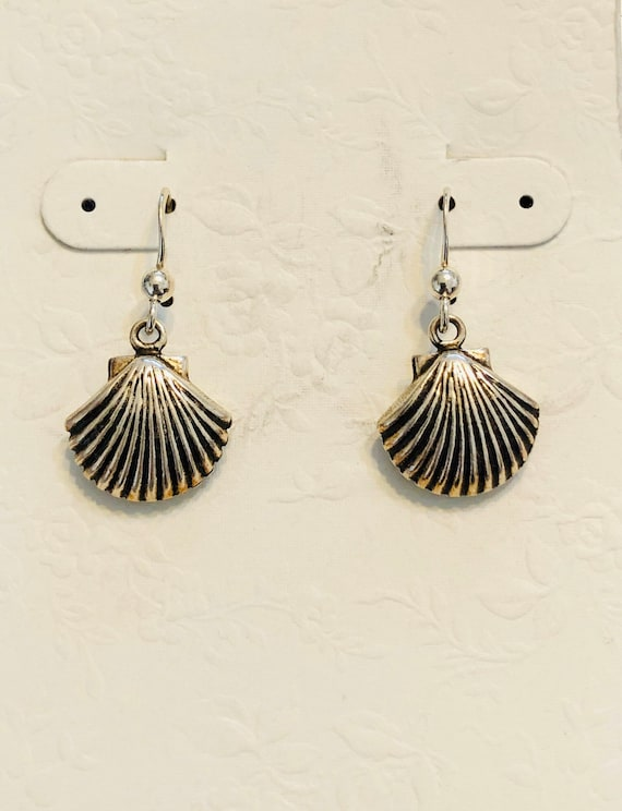 Sterling Silver Blacken Sea Shell Earrings