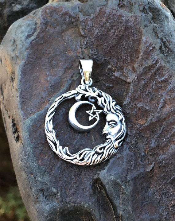 Sterling Silver Man in the Moon Pendant with Pentagram
