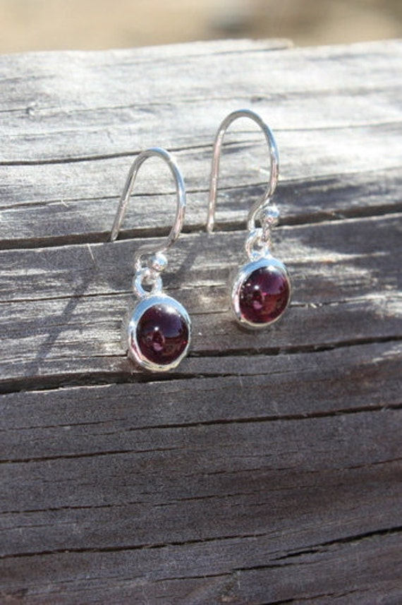 Garnet & Sterling Silver Earrings - #76