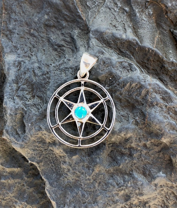 Assorted Stone and Sterling Silver Star Pendant