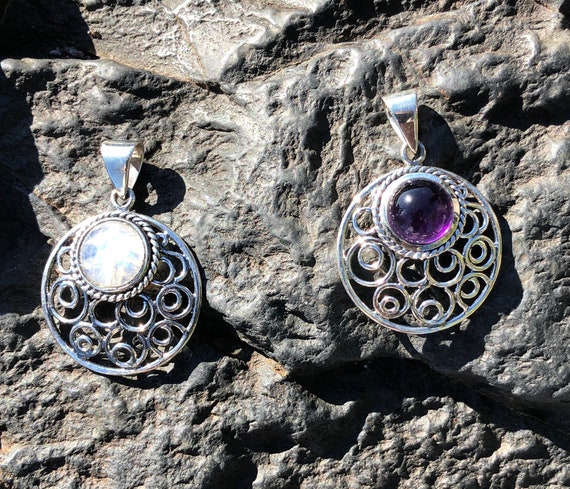 Moonstone or Amethyst & Sterling Silver Crescent Moon Pendant