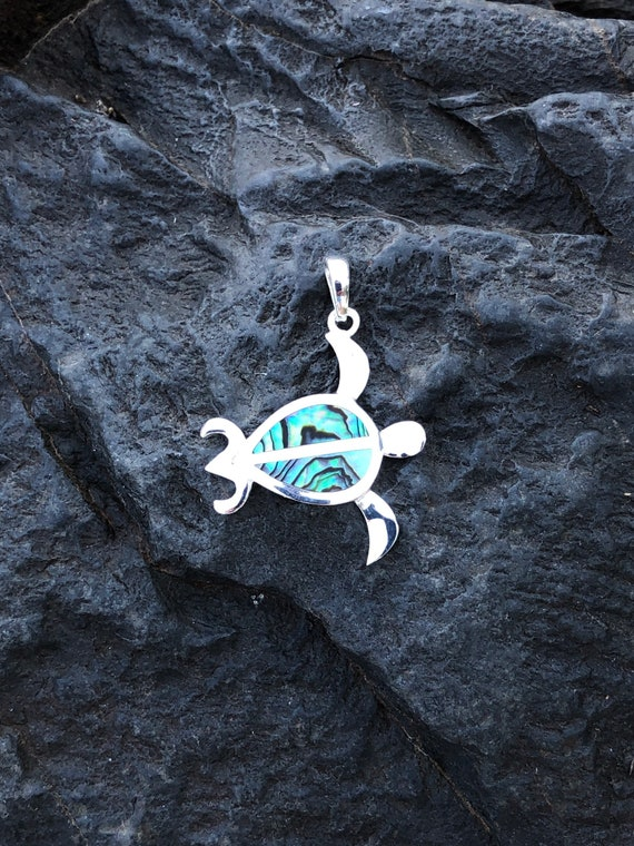 Abalone and Sterling Silver Sea Turtle Pendant