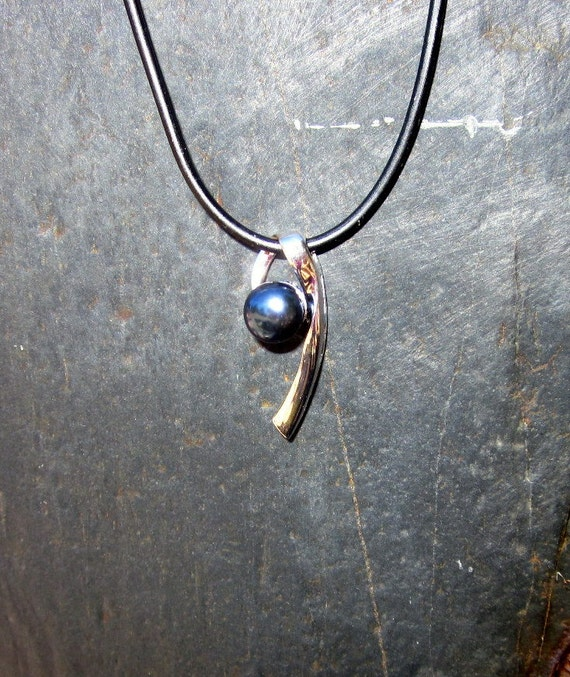 Black Pearl and Sterling Silver Swirl Pendant - #239