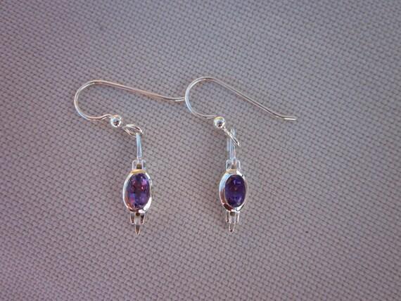 Amethyst & Sterling Silver Spear Earrings - #13 February Birthstone