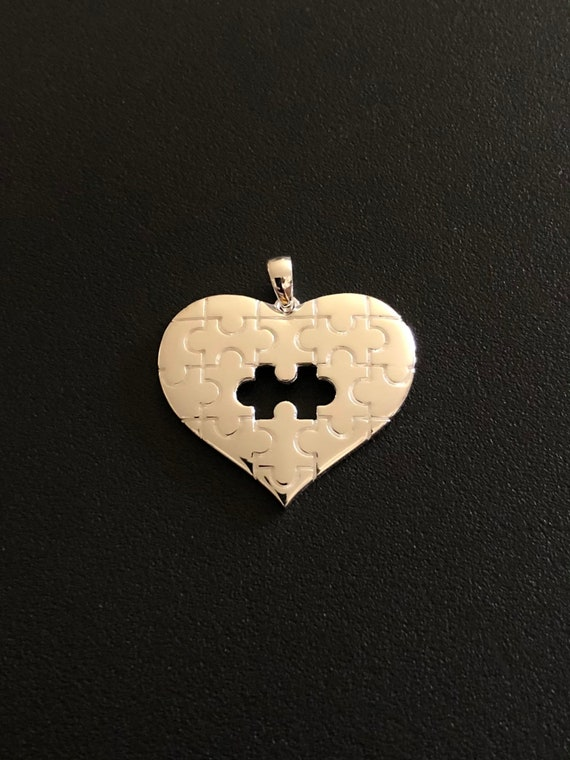 Sterling Silver Autism Heart Pendant