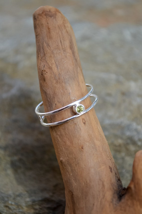 Sterling Silver and Peridot Double Band Ring