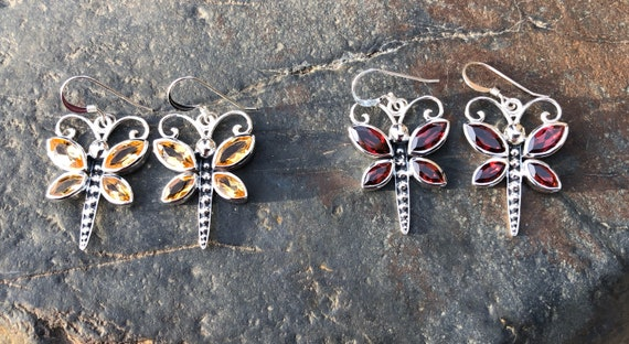 Garnet or Citrine & Sterling Silver Dragonfly Earrings