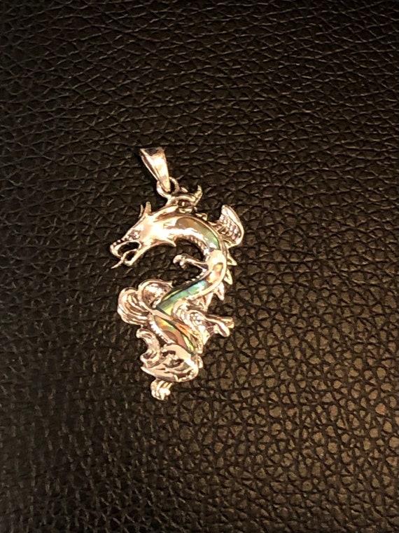 Abalone & Sterling Silver Dragon Pendant