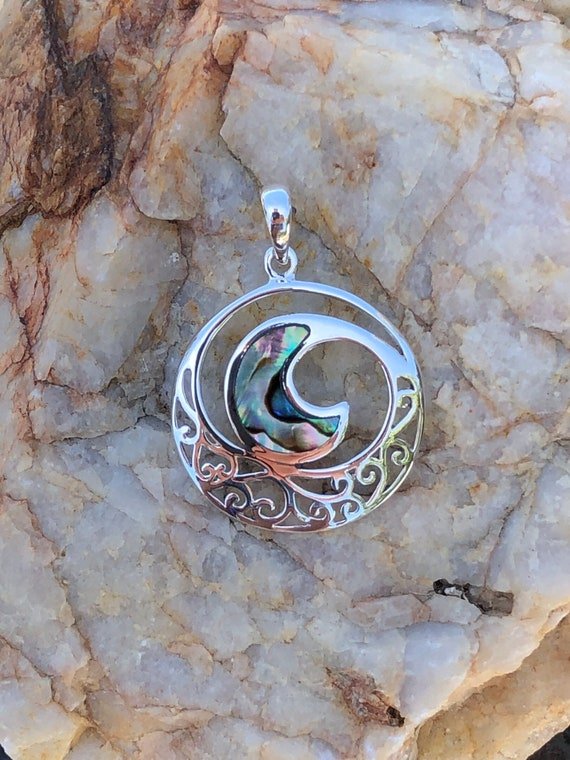 Sterling Silver and Abalone Wave Pendant