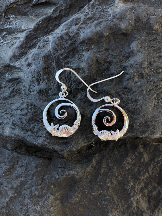Sterling Silver Sea Shore Earrings