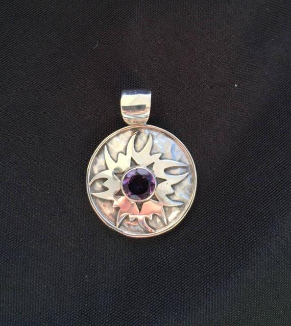 Amethyst & Sterling Silver Sunburst Pendant - #23 February Birthstone