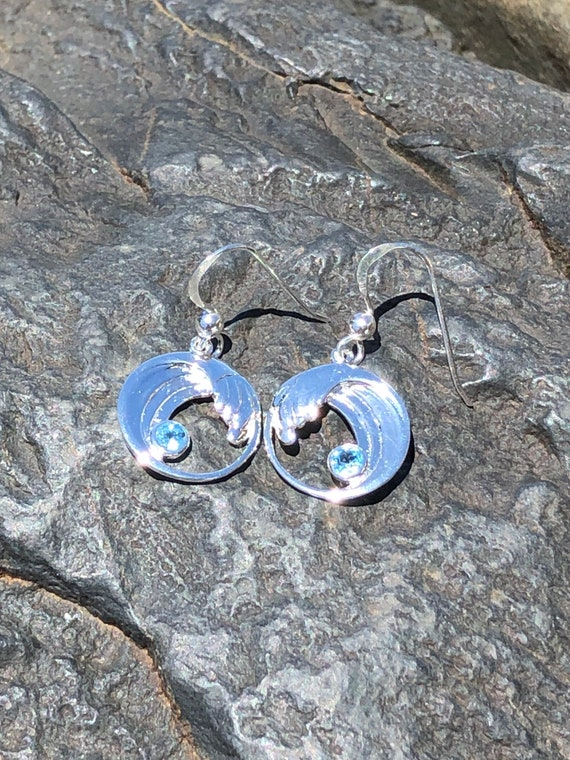 Blue Topaz and Sterling Silver Wave Earrings