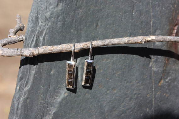 Smoky Quartz & Sterling Silver Earrings - #174